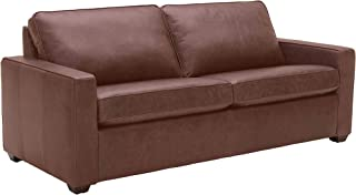 """Amazon Brand – Rivet Andrews Contemporary Top-Grain Leather Sofa with Removable Cushions, 82""""W, Dark Brown"""