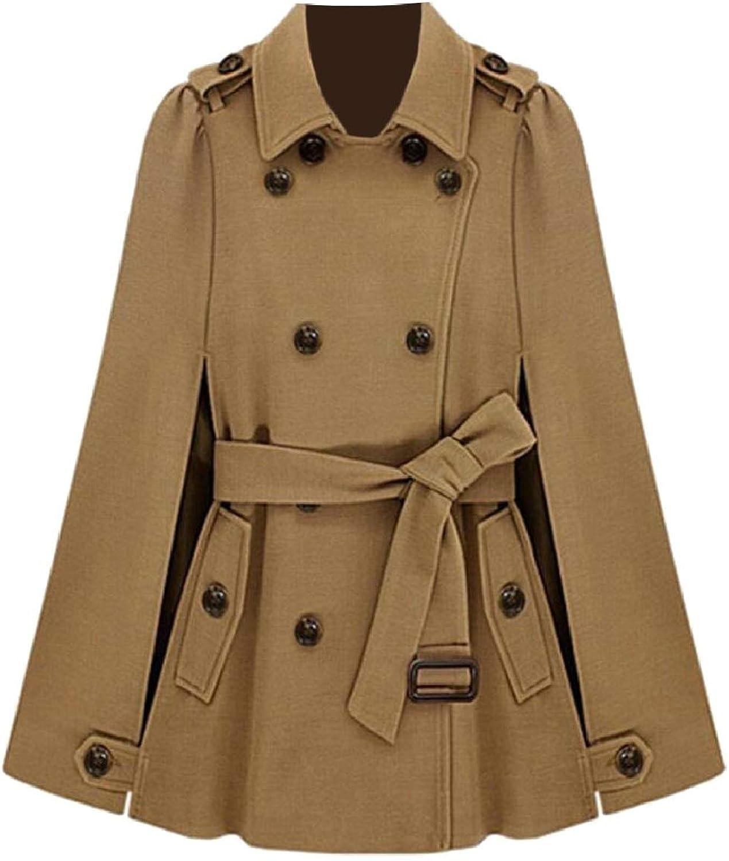 ZXFHZSCA Womens Fashion Double Breasted Overcoat Woolen Cloak Pea Coats Jacket
