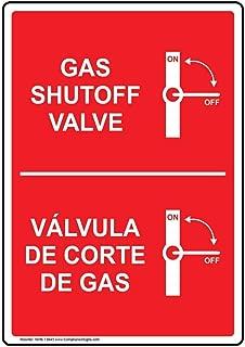 Gas Shutoff Valve Bilingual Safety Sign, 10x7 inch Aluminum for Emergency Response Hazmat by ComplianceSigns
