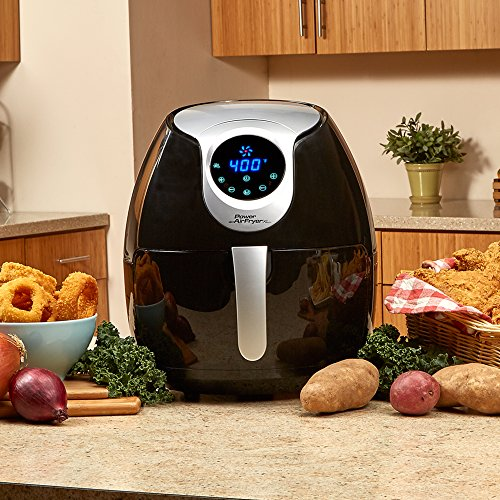 Power Air Fryer XL 3.4 QT Black - Turbo Cyclonic Airfryer With Rapid Air Technology For Less or No Oil. Include Recipes Book