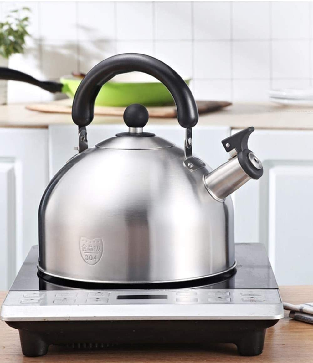 Roestvrijstalen fluitende gasketel Geschikt voor alle kookplaat Type fornuis Huishoudelijk Dikke theepot met grote capaciteit (kleur: 4 l) 4l