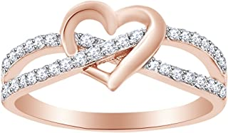 Round Cut White Cubic Zirconia Infinity Heart Promise Ring in 14k Gold Over Sterling Silver