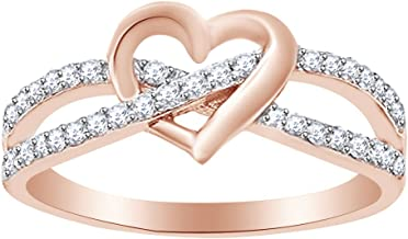 AFFY Round Cut White Cubic Zirconia Infinity Heart Promise Ring in 14k Gold Over Sterling Silver