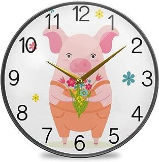 Chovy 掛け時計 サイレント 連続秒針 壁掛け時計 インテリア 置き時計 北欧 おしゃれ かわいい 豚 おもしろ アニマル ホワイト 白 部屋装飾 子供部屋 プレゼント