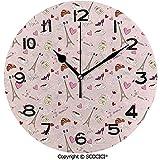 sam-shop Reloj Decorativo Bandera Francesa Café Croissant Zapatos de Moda Corazones de Vino Perfume Iconos Populares Diseño de Nubes Decorativo