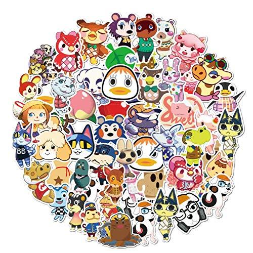 Cartoon Animal Crossing Stickers Waterproof PVC Skateboard Guitar Laptop Luggage Cute Graffiti Sticker Kids Toy 50pcs/Pack