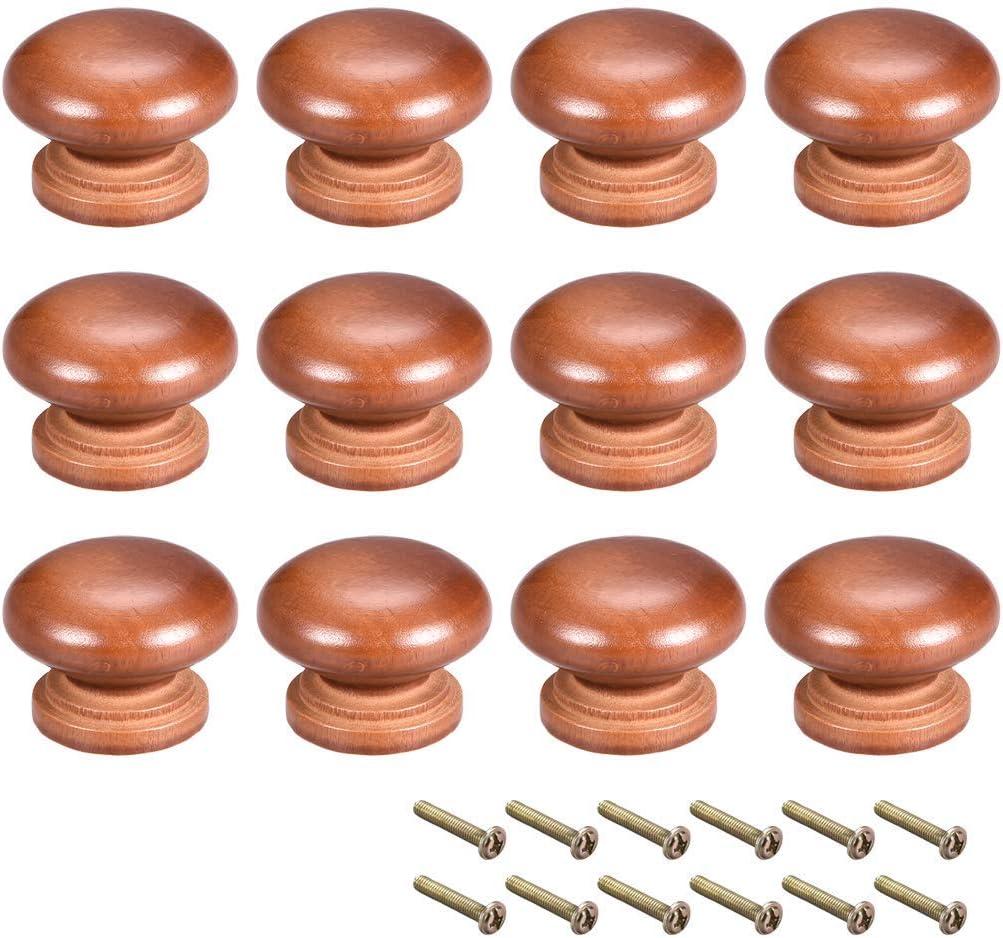 YeVhear Round Wooden Knobs, 12 Pieces 35 mm Dia Cabinet Kitchen