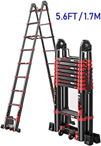 PLLP Telescopic Ladders 5 6Ft Folding Aluminum Telescoping Ladders with Wheel  Outdoor Multi Purpose Heavy Duty A-Type Extension Ladder  330Lbs Load