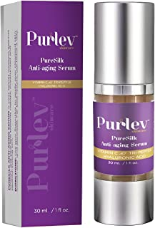 Purlev Skincare Pure Silk Anti Aging Face Serum 1 Oz With Vitamin C, Hyaluronic Acid & Tri-Peptide | Ageless Gel, Highly A...
