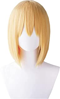 YYCHER Armin Arlert Cosplay Wig Anime Attack on Titan Yellow Short Straight Wigs with Bangs Cosplay Accessories for Women ...