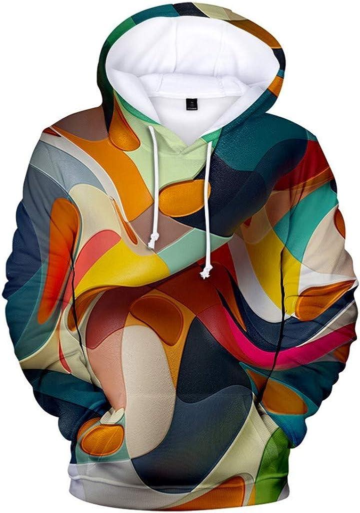 Misaky Men's Hoodies Unisex 3D Blue Swirl Print Pocket Long Sleeve Hooded Pullover Sweatshirts Plus Size Tops