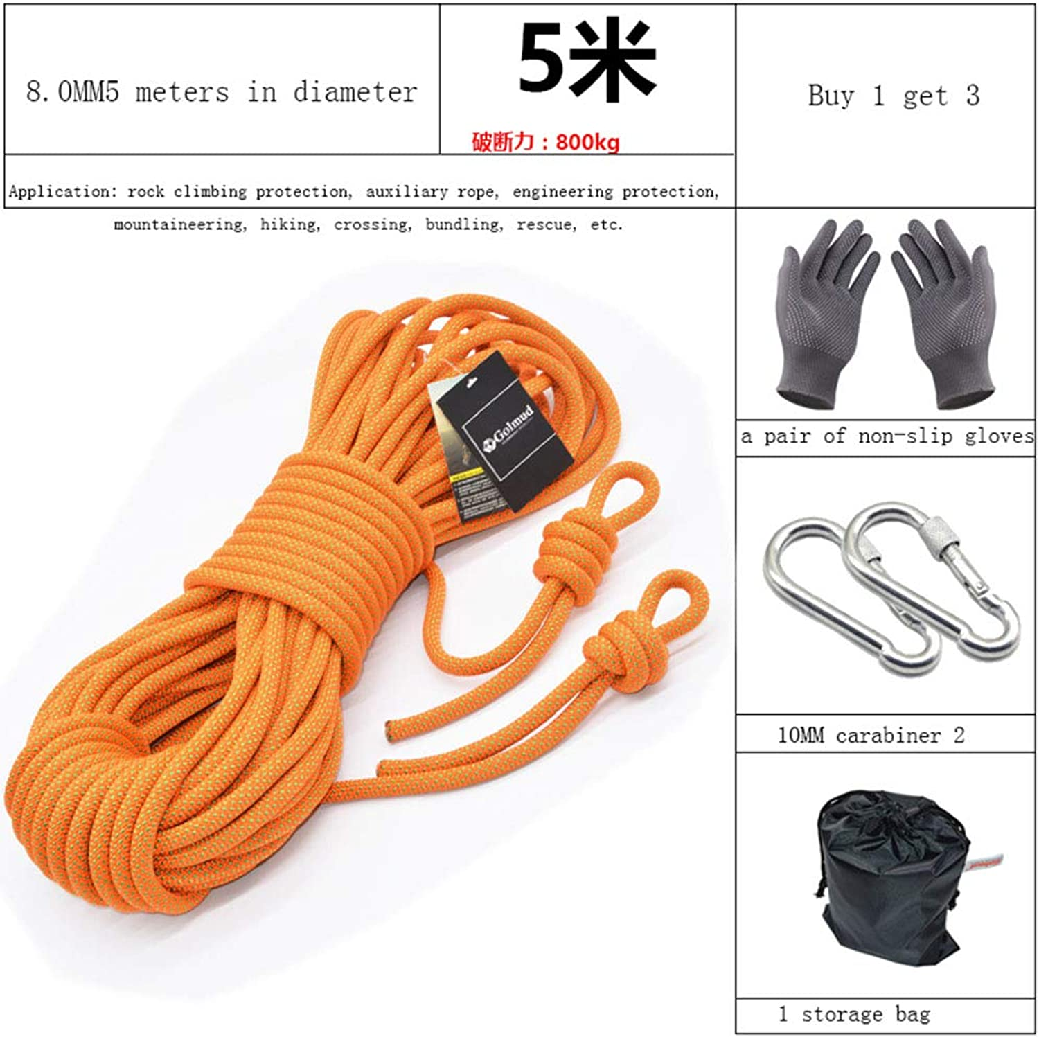 Rope,8mm Outdoor Climbing Auxiliary Rope, Safety Durable Rope,orange,100m