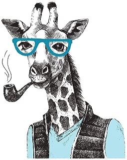 Hipster Giraffe Smoking A Pipe Illustration Cool Wall Decor Art Print Poster 24x36