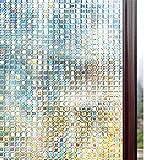 Rabbitgoo 窓 めかくしシート ガラスフィルム 目隠し 断熱 リメイク 無接着剤 貼ってはがせる 窓用フィルム シール ステンドグラス 窓に貼るカーテン 外から見えない 平たなガラス面に適用 モザイク 飛散防止 (湖輝 90 x 200cm)
