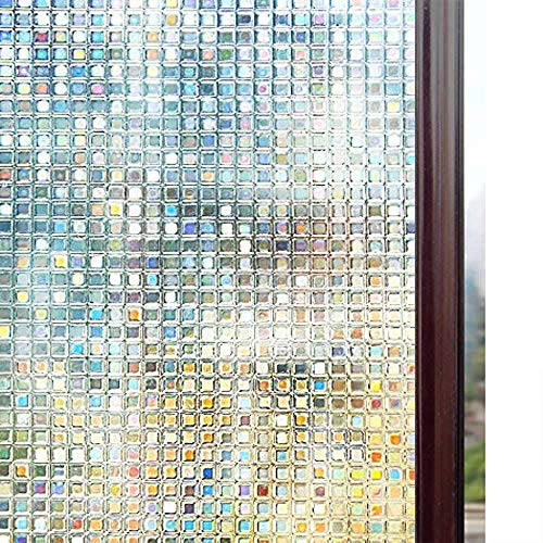 rabbitgoo Decorative Window Film, Mosaic Window Film, Privacy Window Clings, Rainbow Window Decals, Stained Glass Window Sticker, Door Window Covering, Removable Non Adhesive UV Blocking Static Cling