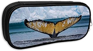 Reteone Print Pencil Bag Antarctic Humpback Whale Tail Fin Portable Pencil Holders Pouch Stationery Organizer Case with Zipper