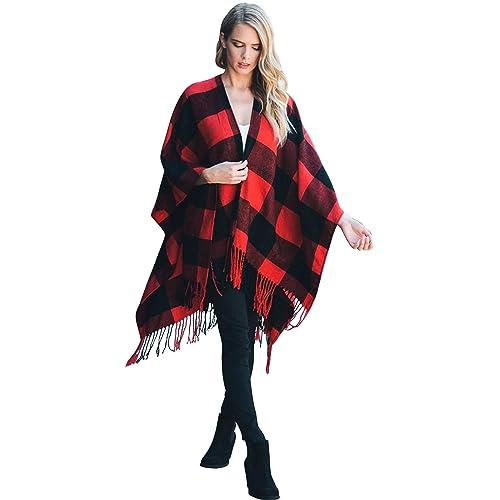 0b6cbfc1fcf Daisy Del Sol Woven Knit Buffalo Plaid Checkered Wrap Oversized Blanket  Sweater Poncho Ruana