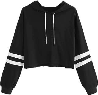 Women's Letter Print Color Block Long Sleeve Crop Top Hoodies Pullover Sweatshirt
