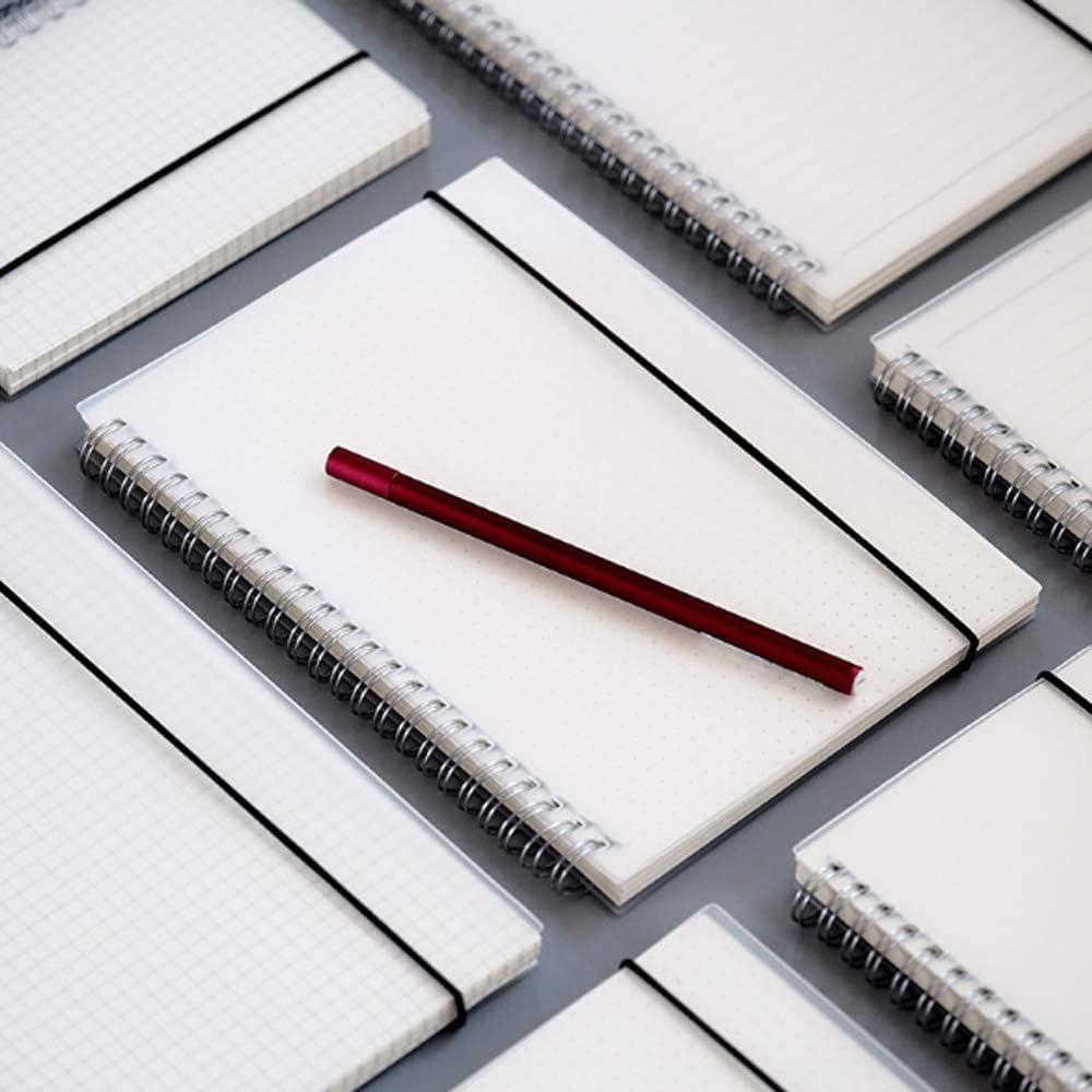 bloc de notas cuadriculado espiral cubierta de PP wirebound notebook con paquete de cintur/ón el/ástico cuaderno a4 cuadricula espiral Pack de 2 160 p/áginas Shulaner cuaderno cuadriculado a4 espiral