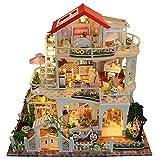 Sliveal DIY Puppenhaus Miniatur Kit Romantisches Dreistöckiges Luxushaus Beleuchtet Exquisit Und...
