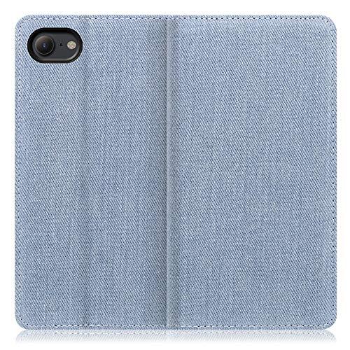LOOF Denim iPhone 7 / 8 / SE (第二世代)ケース 手帳型 カバー スマホケース デニム生地 横入れ カード収納付 スタンド機能付 パス入れ 手帳型ケース 手帳型カバー ベルトなし おしゃれ シンプル ブランド (ライトブルー)