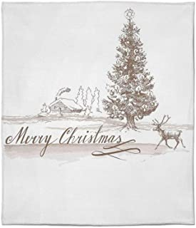 C COABALLA Flannel Blanket,Christmas Decorations,for Living Room Bedroom Hotel,Size Throw/Twin/Queen/King,Romantic Vintage New Year Scene with Reindeer