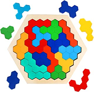 JCREN Wooden Hexagon Puzzle Toy for Kid Adults - Tangram Shape Block Brain Teaser Toy Colorful Geometry Logic IQ Game STEM Montessori Educational Toy Gift for All Ages Challenge