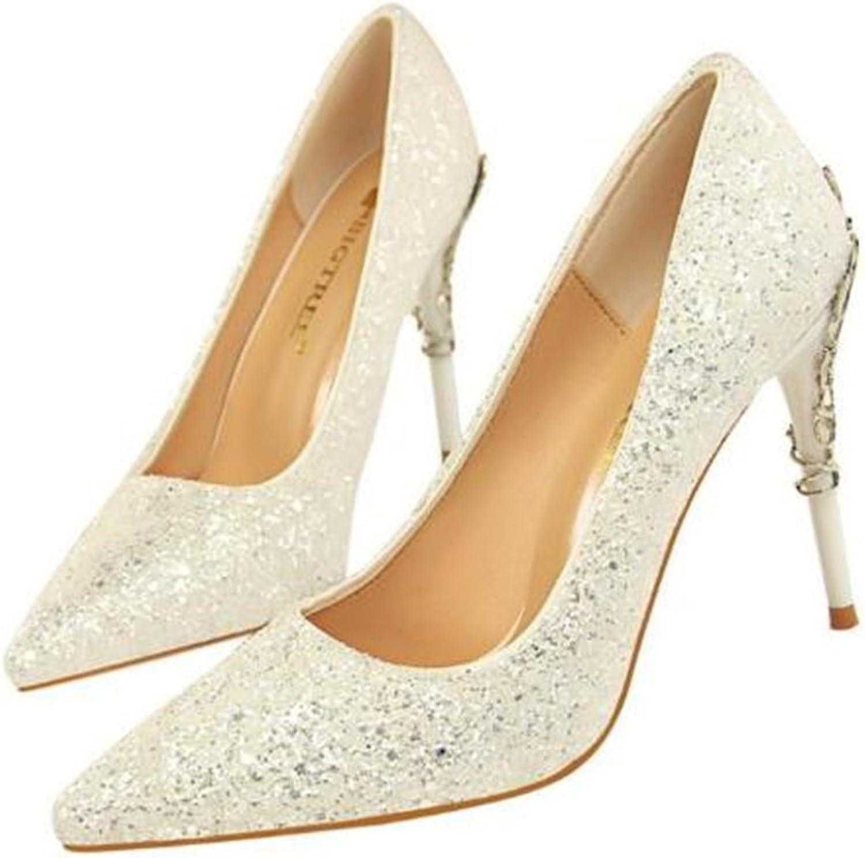 FORTUN Fashion Pointed Toe high Heels Sexy Women Sequins Stilettos Bridesmaids