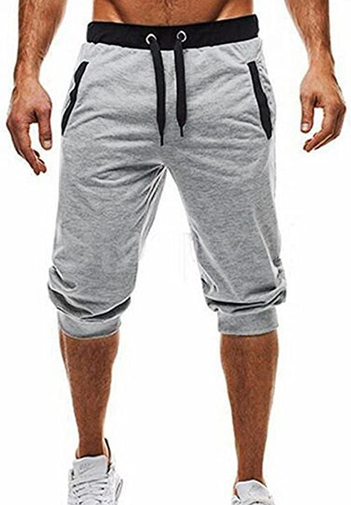 VEKDONE Men's Jogging Sweatpants Cotton Casual Shorts 3/4 Jogger Capri Pants Elastic Waist Home Lounge Shorts
