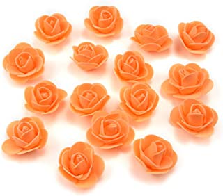 Fake Flower 50 pcs PE Foam Roses Head Artificial Flowers Wedding Decoration DIY Party Festival Home Decor Scrapbooking Gift Box DIY Wreath (Orange)
