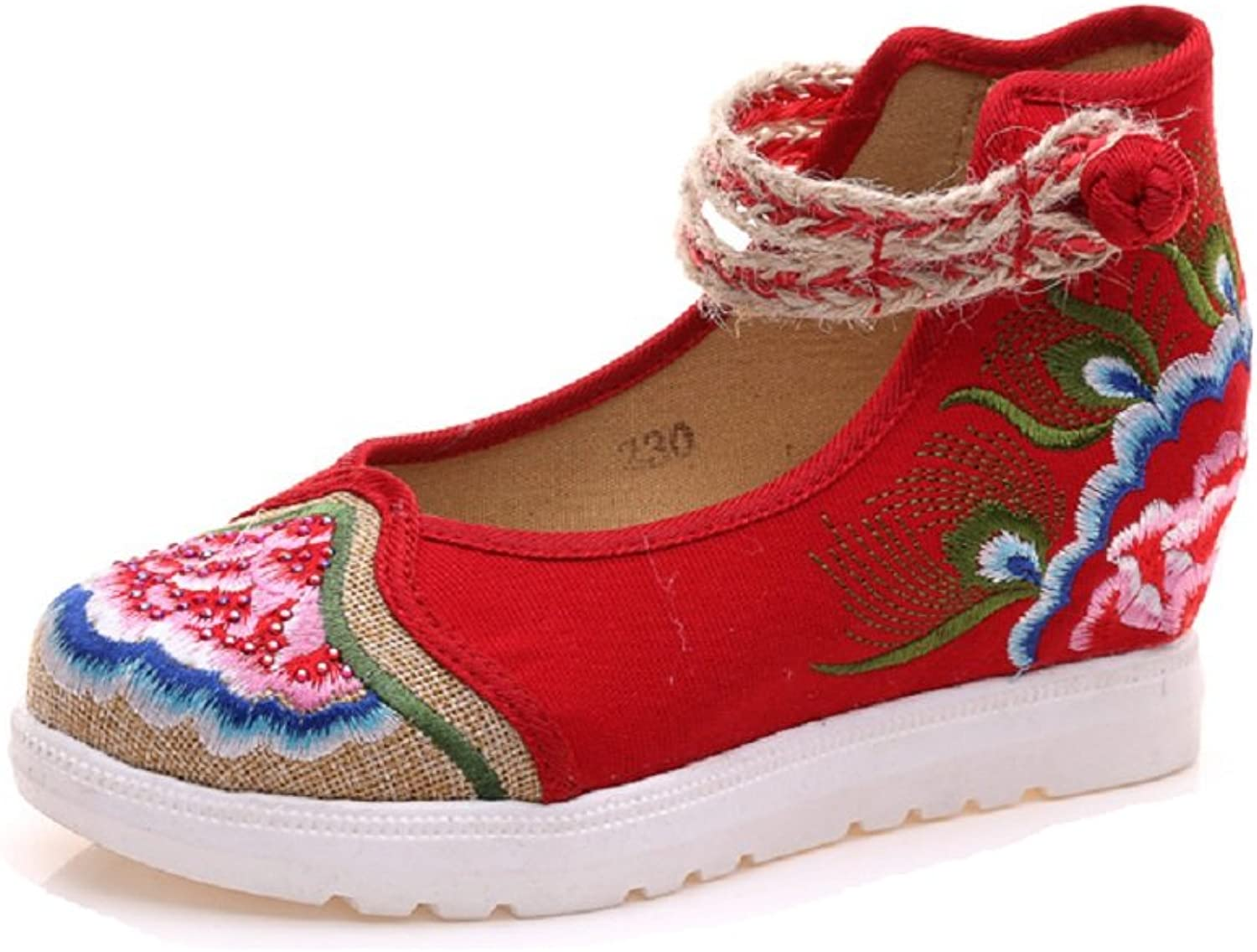 Tianrui Crown Women's Embroidery Flower Flats Ballet shoes Increasing shoes Sandals