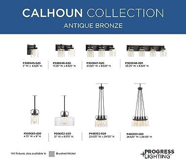 Calhoun Collection 3-Light Clear Glass Farmhouse Bath Vanity Light Antique Bronze