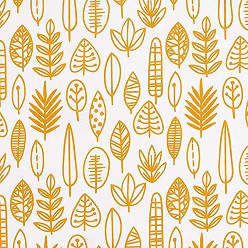 Baumwollstoff Popeline Comicblätter – wollweiss/senf — Meterware ab 0,5m — zum Nähen von Kinder Deko, Bettwäsche & Tagesdecken