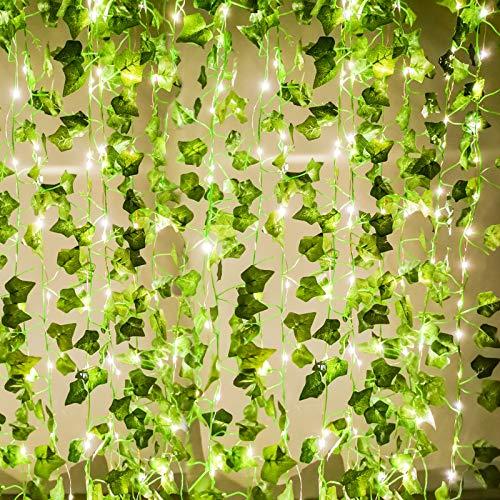 Joyhalo Fake Ivy with Strings - Vines Artificial Ivy Leaf Plants, Silk Ivy Garland Greenery...