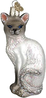 Old World Christmas Glass Blown Siamese Cat White Ornament