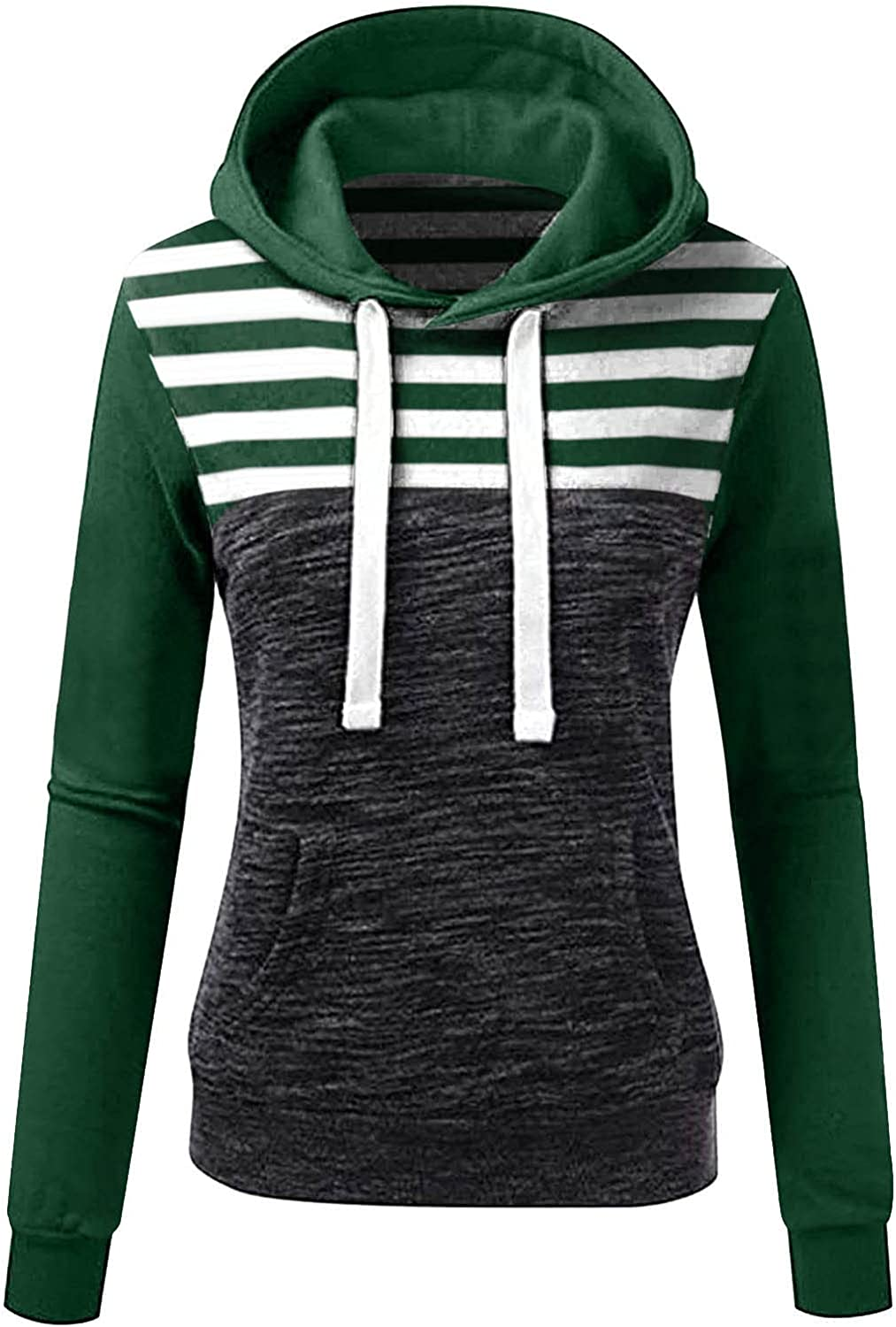 Pandaie Womens Striped Hoodies Fashion Casual Pullovers Autumn and Winter Pocket Sweatshirt Vintage Daily Jacket