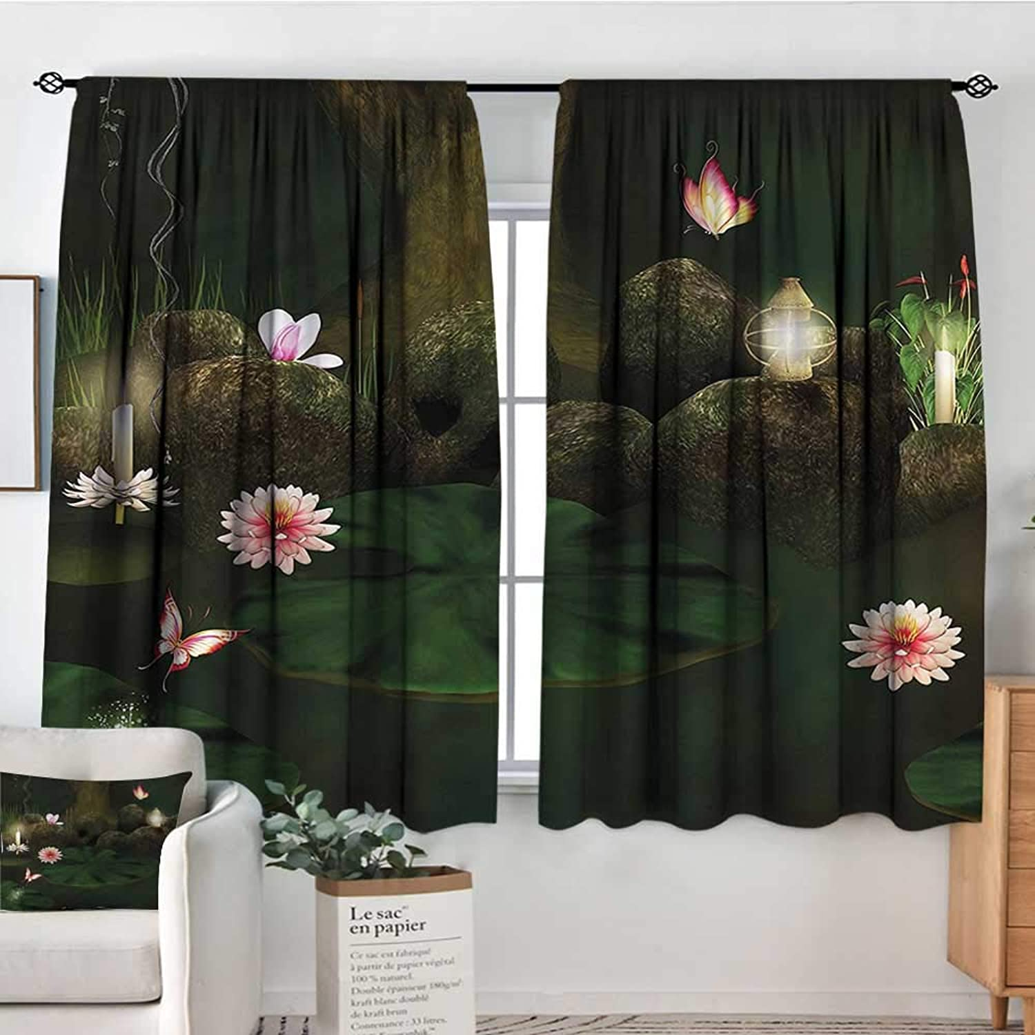 Magical,Girs Room Backout Curtains Mystic Forest with Candle 52 x63  Therma Insuated Curtain Panes