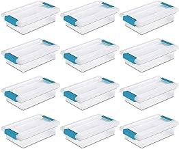 STERILITE 19698606 Mini Clip Storage Box Clear with Blue Aquarium Latches 12 Pack free Microfiber towel