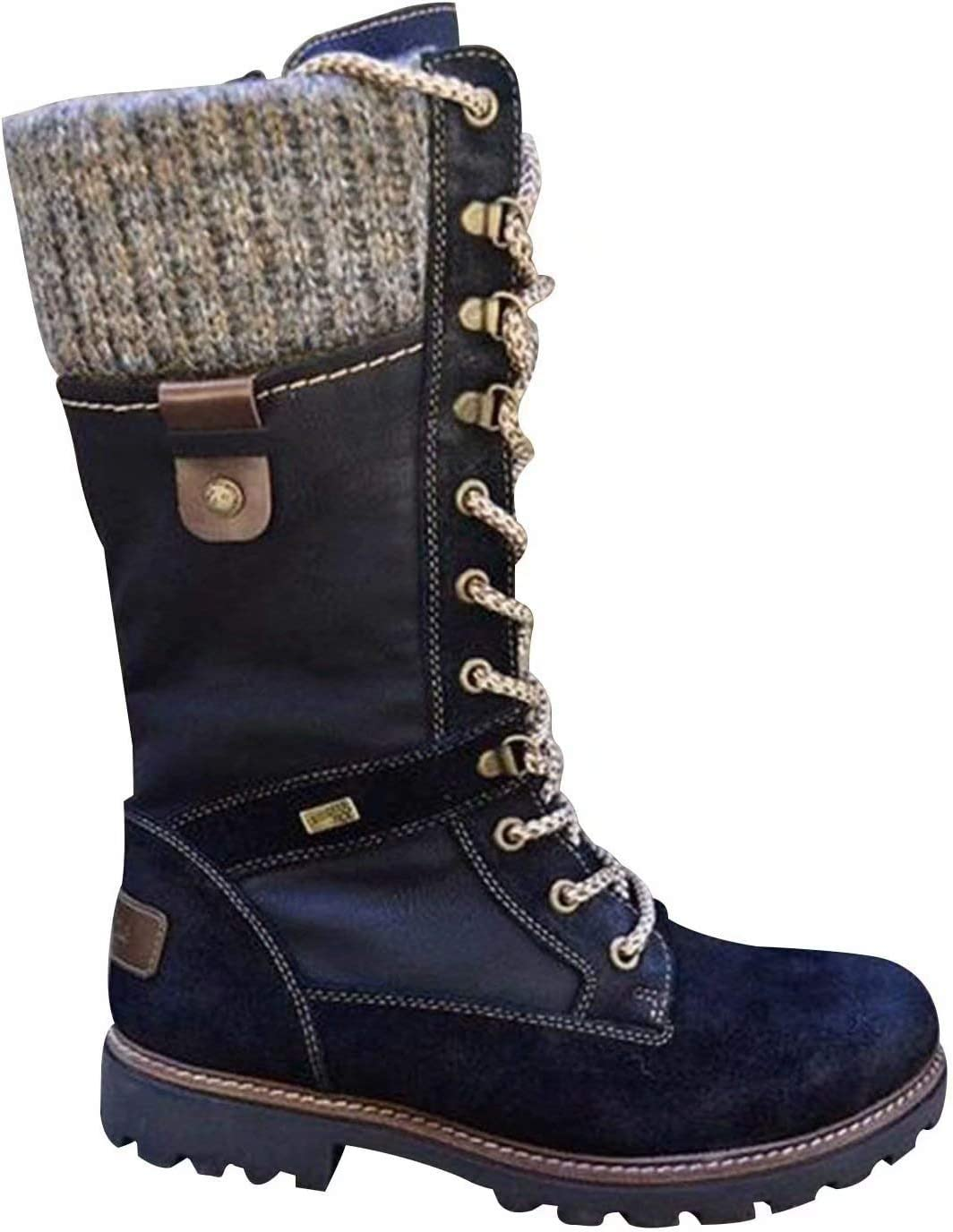 Women's Mid Calf Combat Riding Boots Low Chunky Heel Round Toe Lace Up Knit Sweater Boot Flat Buckle Outdoor Boots