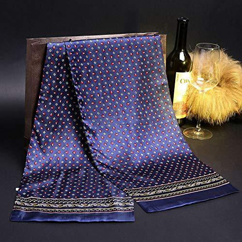 MINMINA Sciarpa di Seta da Uomo Doppio Foulard di Seta Sciarpa Lunga da Uomo in Raso di Seta Sciarpa Lunga 20% Cotone 160 * 28cm, Blu Scuro, Piccolo rombico