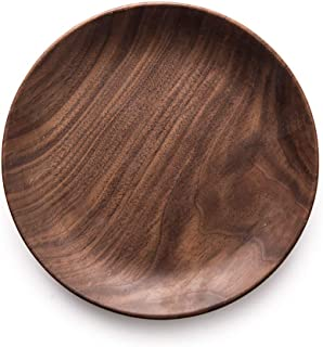 Natural Round Wooden Plates Black Walnut Wood Tray Cake Snack Plate Dessert Serving Tray Dishes Wood Utensils Tableware Gifts (7.9in(20cm))
