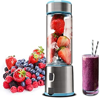 Portable Glass Smoothie Blender, Kacsoo S620 USB Rechargeable Personal Blender Juicer Cup, Single Serve Fruit Mixer, Multifunctional Small Travel Blender for Shakes and Smoothies, with 5200 mAh Rechargeable Battery(Baby Blue)