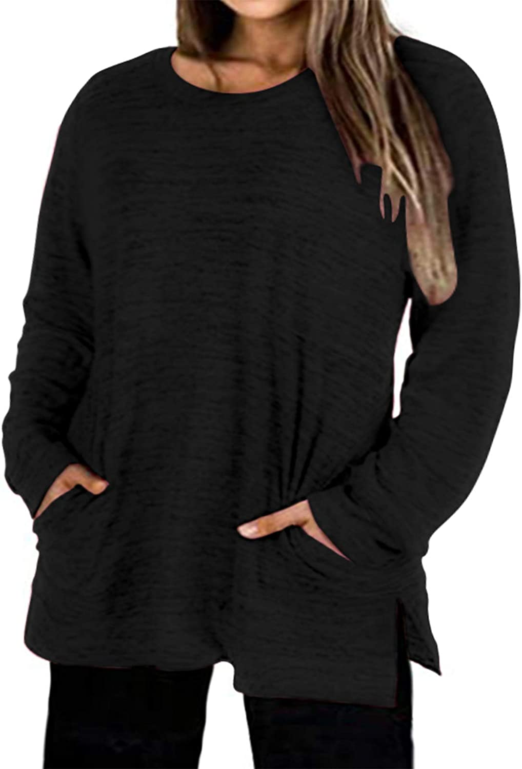 Plus-Size Tops for Women Long Sleeve T shirt Crew Neck Sweatshirt Tunic Blouse with Pockets