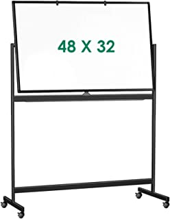 Double Sided Mobile Whiteboard, 48 x 32 inches Large Rolling White Board, maxtek Reversible Magnetic Dry Erase Board Easel...