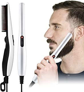 Beard Straightener Brush - SubClap Electric Hair Straightening Curly Styling Comb, Heating Hair and Mustache Comb for Men & Women