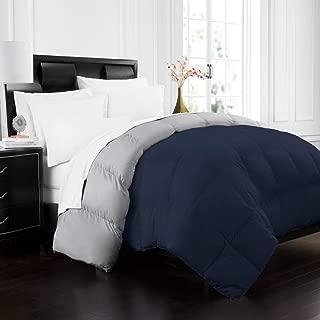 Beckham Hotel Collection 1700 Series Luxury Goose Down Alternative Reversible Comforter - Premium Hypoallergenic - All Season - Duvet - Twin/Twin XL - Navy/Sleet