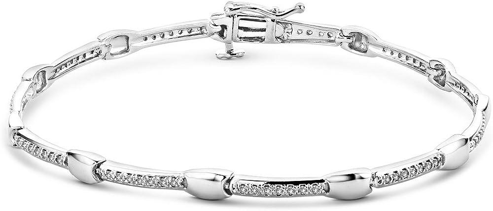 Orovi, bracciale per donna in oro bianco 9 carati (375)(7,8 gr) con diamante 0,23 carati OR72338B
