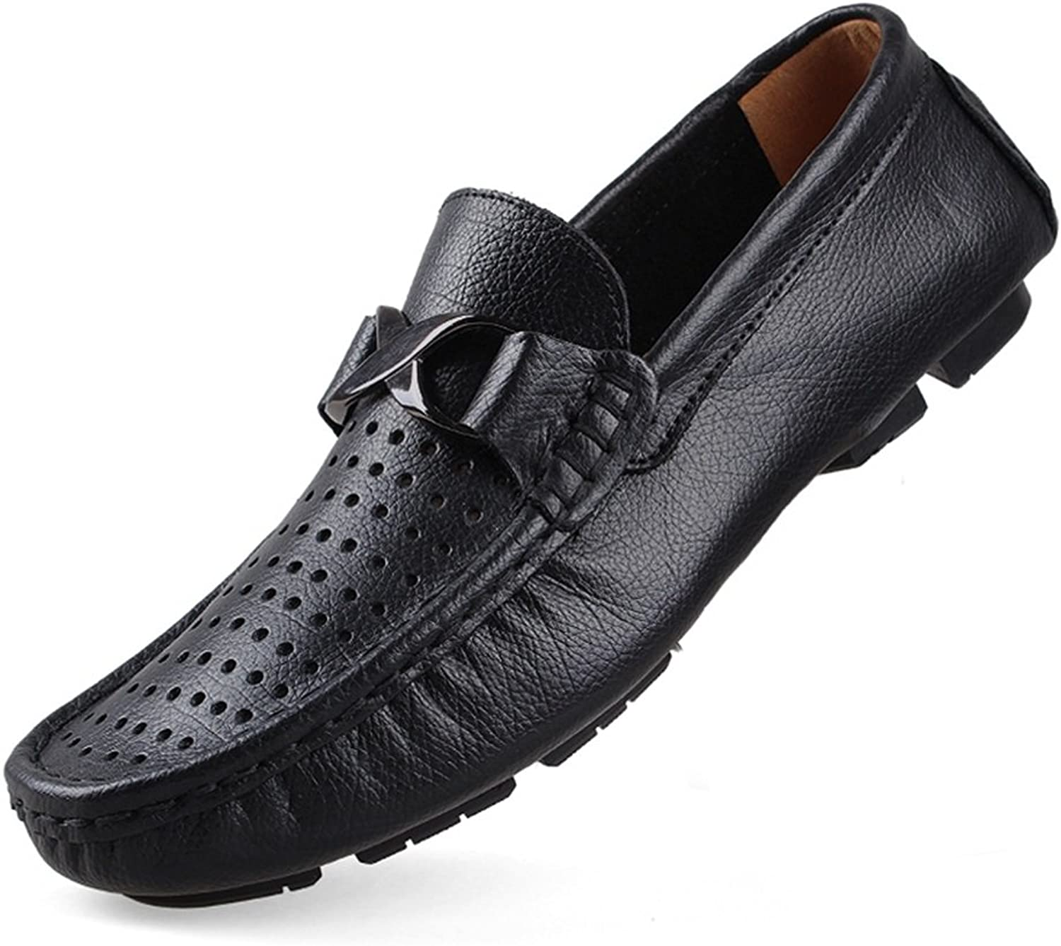 XUE Men's shoes Leather Spring Fall Comfort Loafers & Slip-ONS Driving shoes Hollow-Out Office & Career Breathable Comfort Outdoor Lazy shoes Formal Business Work