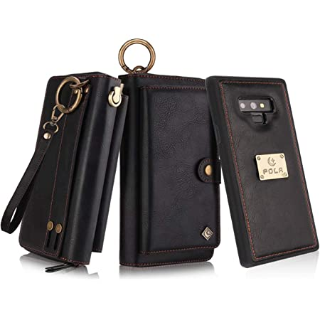 Petocase Compatible Note 9 Wallet Case, Multi-Functional PU Leather Zip Wristlets Clutch Detachable Magnetic 13 Card Slots & 4 Cash Pocket Protection Cover for Samsung Galaxy Note 9 Black