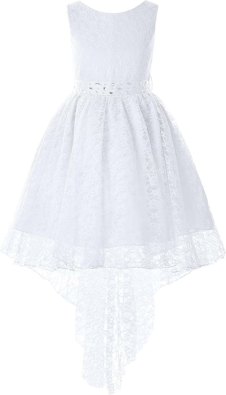 Sholeno Kids Girls Chiffon Sleeveless Flower Girl Dress Pageant Wedding Bridesmaid Birthday Party Lace Gown